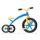 Vector kids tricycle icon. Cartoon children bicycle illustration in flat style