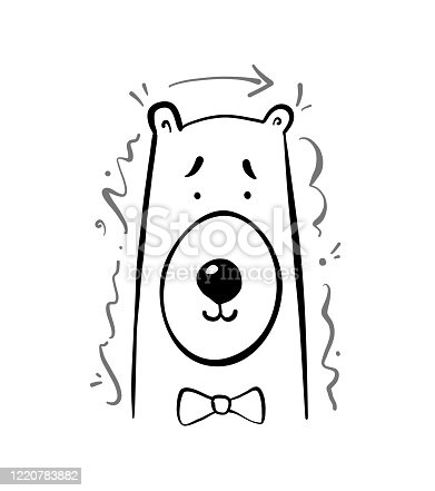 istock Vector Kids t-shirt print with Hand drawn polar bearwith a bow. 1220783882