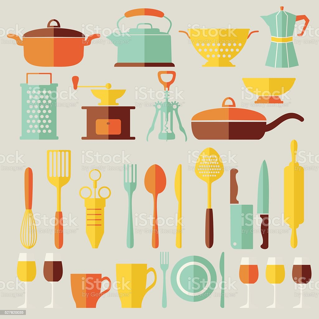 Vector kitchen equipment flat icons set vector art illustration
