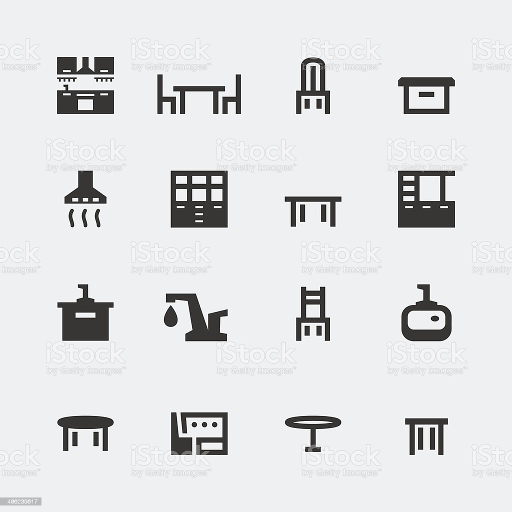 Vector kitchen furniture mini icons set vector art illustration