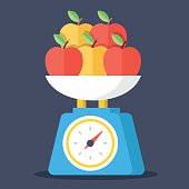 Vector kitchen scales and apples. Colorful flat concept illustration