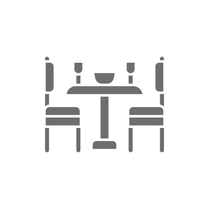 Vector kitchen table and chairs grey icon.
