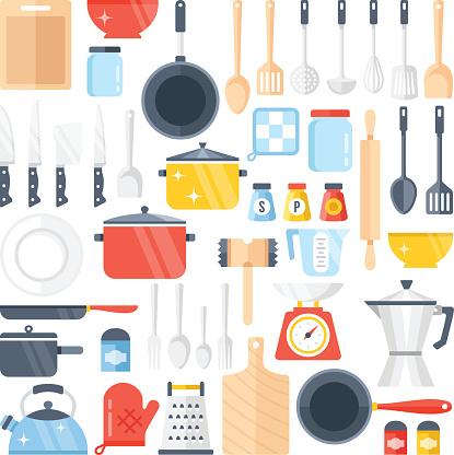 Vector kitchen tools set. Kitchenware collection. Flat design vector illustration