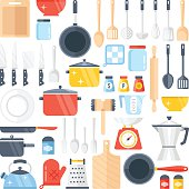 Vector kitchen tools set. Kitchenware collection. Lots of kitchen tools, utensils, cutlery. Modern flat design concepts for web banners, web sites, printed materials, infographics. Vector illustration