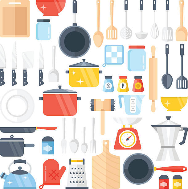 Vector kitchen tools set. Kitchenware collection. Flat design vector illustration Vector kitchen tools set. Kitchenware collection. Lots of kitchen tools, utensils, cutlery. Modern flat design concepts for web banners, web sites, printed materials, infographics. Vector illustration cooking designs stock illustrations