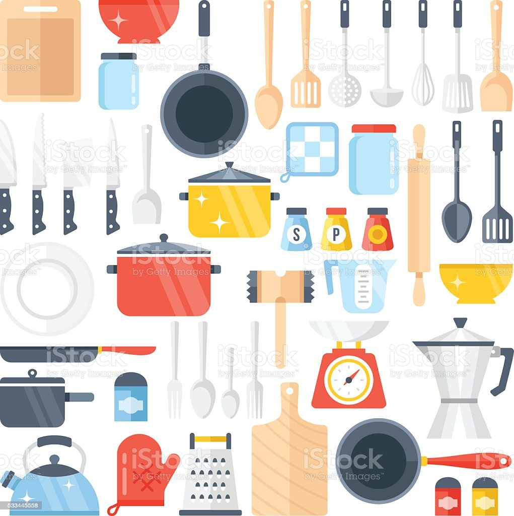 Vector kitchen tools set. Kitchenware collection. Flat design vector illustration vector art illustration
