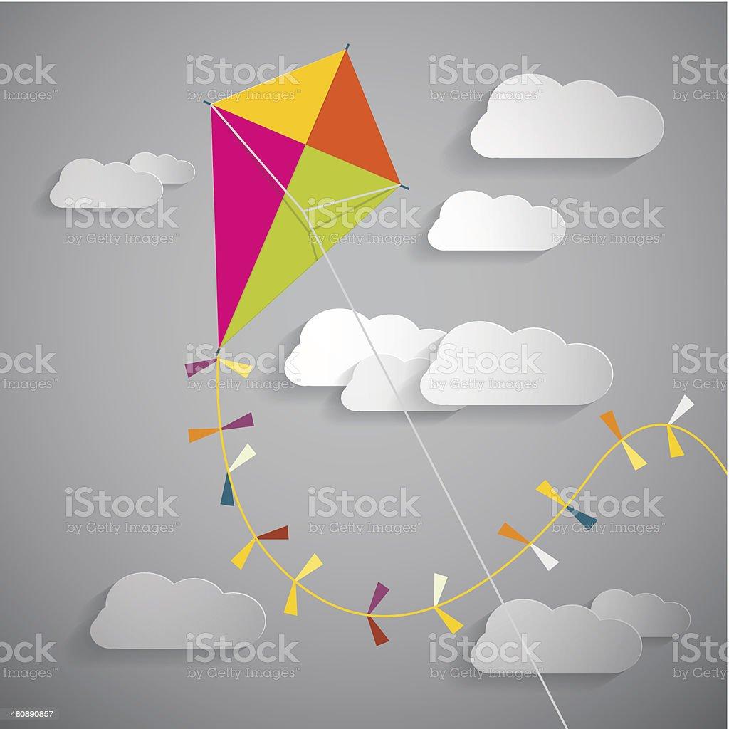 Vector Kite on Sky Illustration vector art illustration