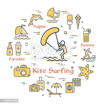 vector kite surfing entertainment and summer icons stock vector art & more  images of arranging - istock