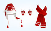 3D ベクトル ニット サンタ帽子、手袋、スカーフ