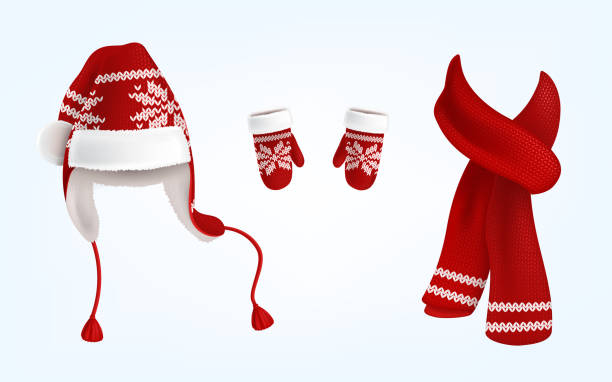 3d vektor gestrickt santa mütze, handschuhe und schal - schals stock-grafiken, -clipart, -cartoons und -symbole