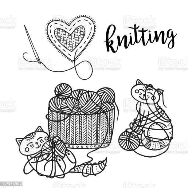 Vector knitting theme card with cute cat and lettering vector id1079442810?b=1&k=6&m=1079442810&s=612x612&h=slybflith92fgrzgmhqr8ck19kj6 bevknvlzcvbxnw=