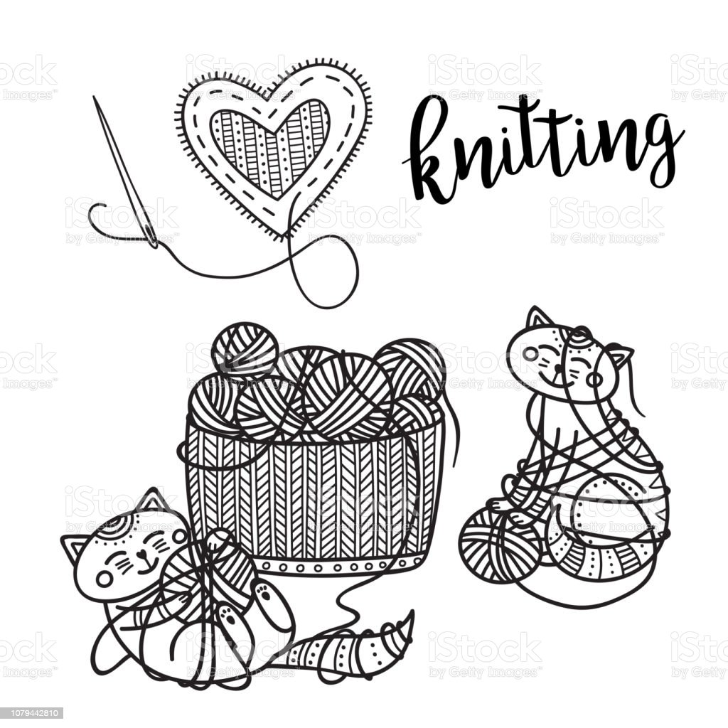 Vector knitting theme card with cute cat and lettering. vector art illustration