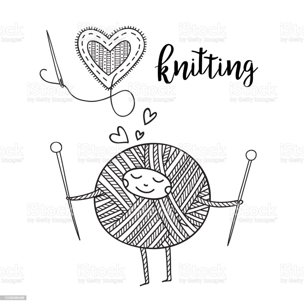 Vector knitting theme card with cute yarn ball character and lettering. vector art illustration