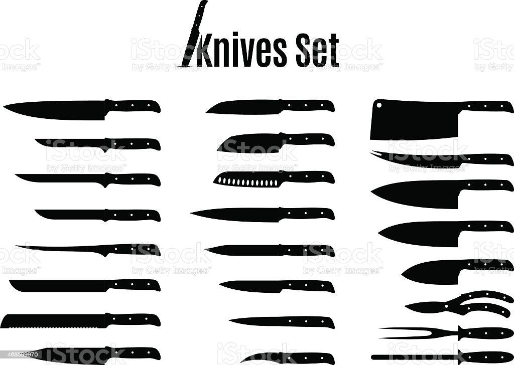 Vector ensemble couteaux isolé sur blanc - Illustration vectorielle