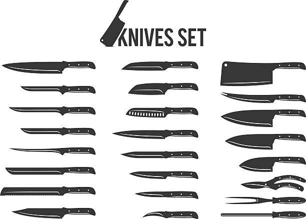 vector knives set isolated on white - chef stock illustrations, clip art, cartoons, & icons
