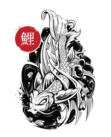 Vector koi fish tattoo