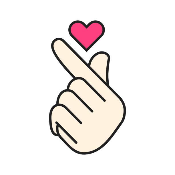 Royalty Free Korean Finger Heart Clip Art, Vector Images ...