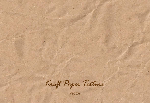 stockillustraties, clipart, cartoons en iconen met vector kraft papier blad. bruine ruwe papieren textuur. tekstterugloop - bruin