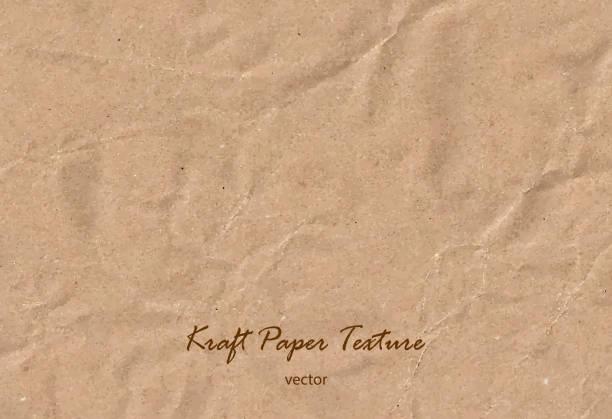 vektör kraft kağıt levha. kahverengi kaba kağıt dokusu. kaydırma - rustik stock illustrations