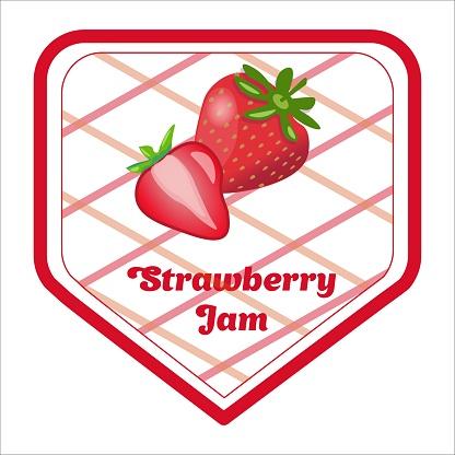 Vector label design for strawberry jam