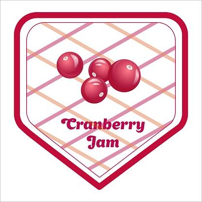 Vector label design of cranberry jam