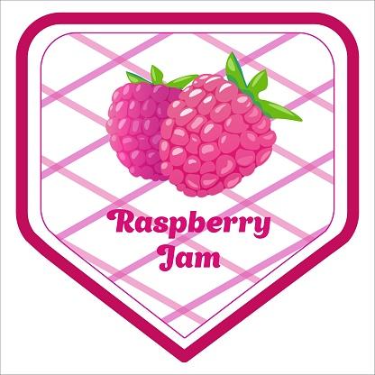 Vector label design of raspberry jam