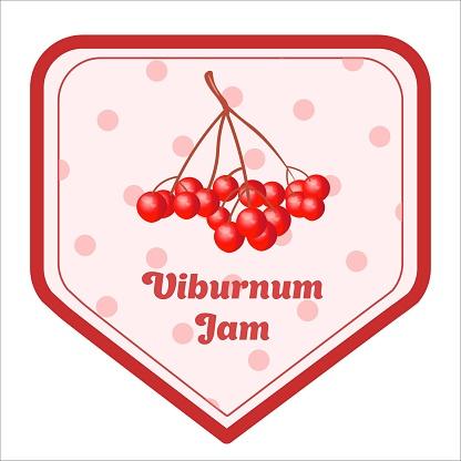 Vector label design of viburnum jam