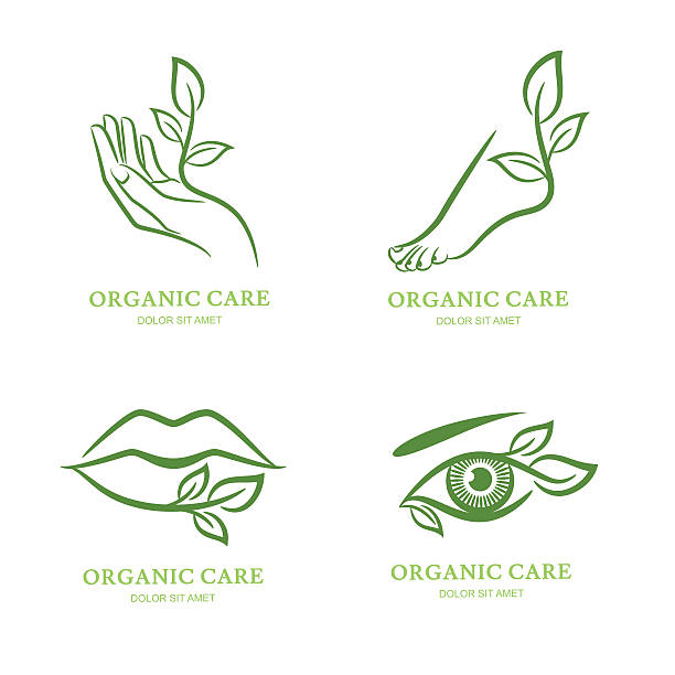 vector label, emblem. female hand, foot, eye, lips with leaves. - fußpflegeprodukte stock-grafiken, -clipart, -cartoons und -symbole