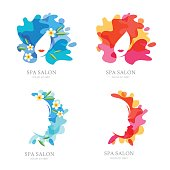 Vector label, emblem set. Female face and flowers on water splash background. Design for spa, ayurveda, beauty salon, cosmetics, cosmetology. Womens hairstyle and haircut isolated illustration.