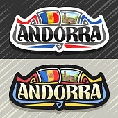 Vector label for Andorra