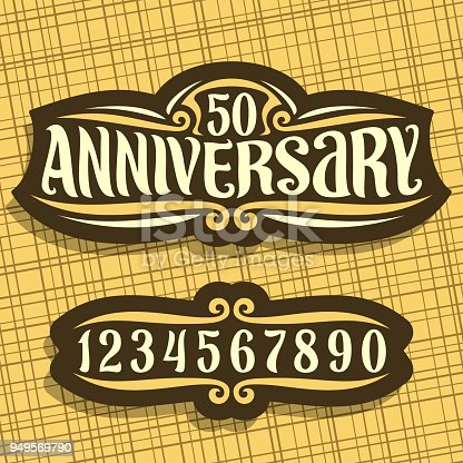Vector label for Anniversary event, dark vintage sign with 50th number for wedding or marriage, original brush typeface for words 50 anniversary, editable format with set of different numbers.