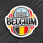 Vector label for Belgium