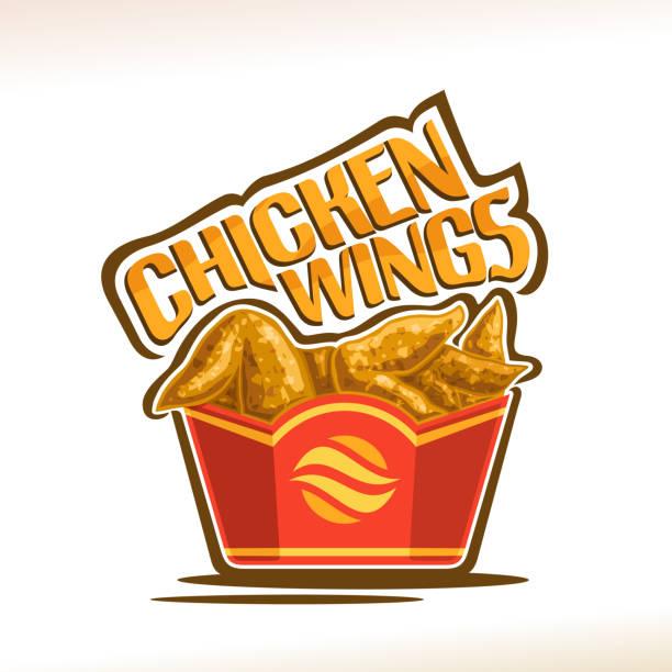 stockillustraties, clipart, cartoons en iconen met vector label voor kippenvleugeltjes - chicken bird in box