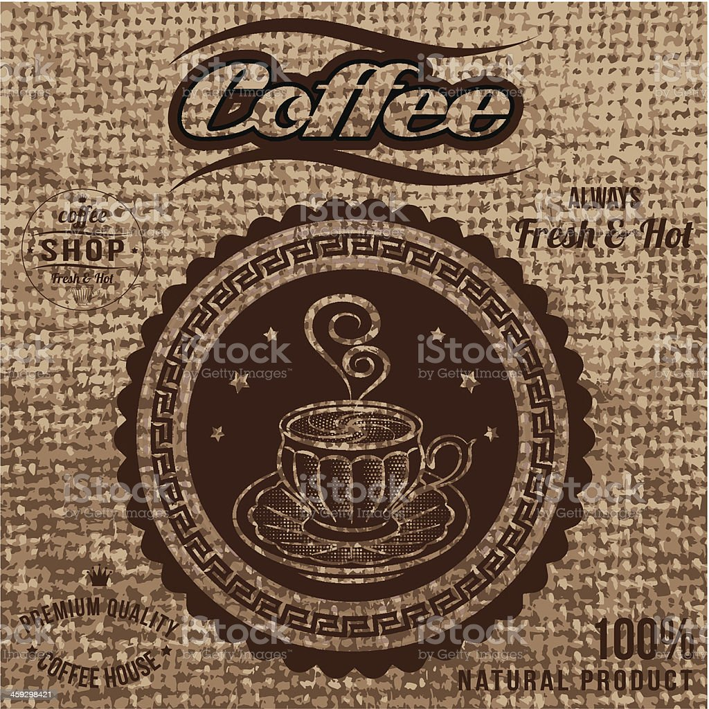 vector label for coffee on sacking vector art illustration