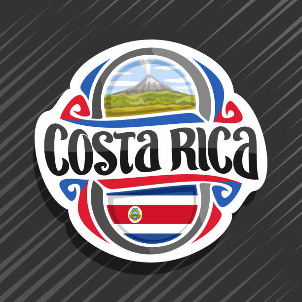Vector label for Costa Rica vector art illustration