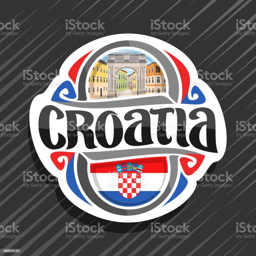 Etiqueta de vectores para Croacia - ilustración de arte vectorial