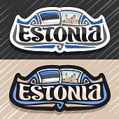 Vector label for Estonia
