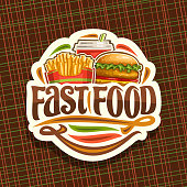 Vector label for Fast Food, sticker with set of fresh chicken burger with fried cutlet and salad, french fries in cardboard box, fizzy drink in plastic cup, label with lettering for words fast food.