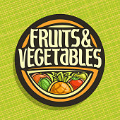 Vector label for Fruits and Vegetables, round sign for organic healthy vegan food, circle badge for price tag of fruit store, label with original script for fruits & vegetables on abstract background.