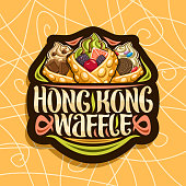 Vector label for Hong Kong Waffles, black decorative tag with 3 bubble waffle cones stuffed soft serve ice cream and fresh fruits, original lettering for words hong kong waffle, sweet asian cuisine.