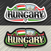 Vector label for Hungary