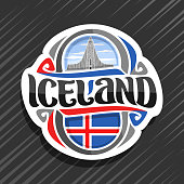Vector label for Iceland