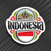Vector label for Indonesia