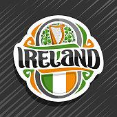 Vector label for Ireland
