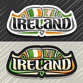 Vector label for Ireland