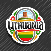 Vector label for Lithuania