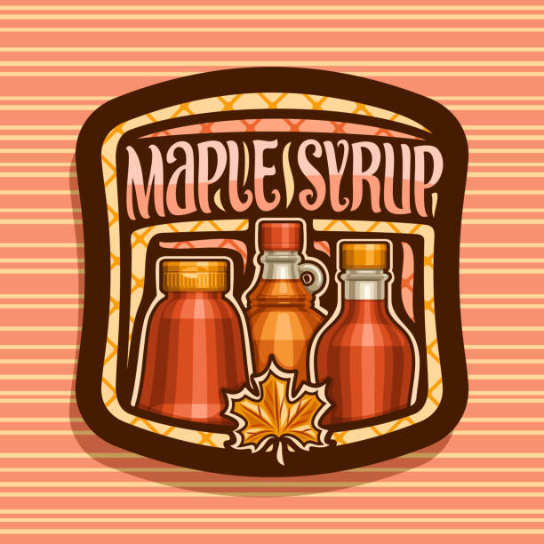 Vector label for Maple Syrup Vector label for Maple Syrup, dark square tag with 3 different bottles with sweet syrup and maple leaf, original brush lettering for words maple syrup, poster for canadian vegan dessert for breakfast. maple syrup stock illustrations