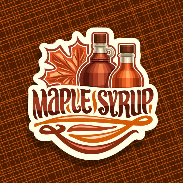 Vector label for Maple Syrup Vector label for Maple Syrup, white decorative sticker with 2 different bottles with sweet syrup and maple leaf, original brush lettering for words maple syrup, canadian vegan dessert for breakfast. maple syrup stock illustrations