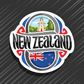 Vector label for New Zealand