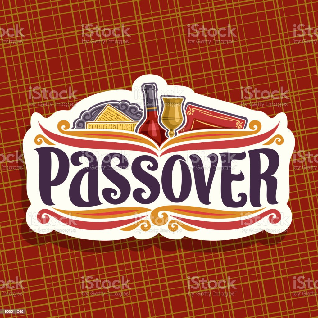 Vector label for Passover holiday vector art illustration